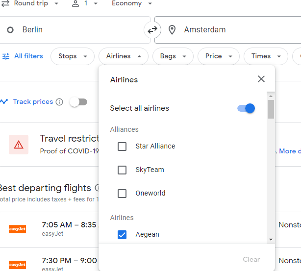 Search Airlines on Google flights